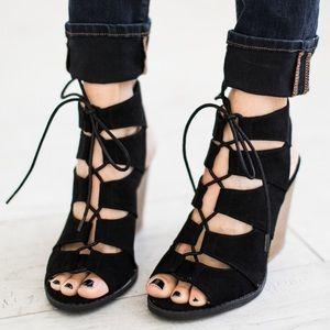 Shoes - Black Lace Up Open Toe Bootie Sandals