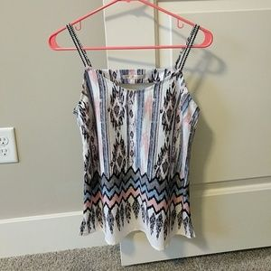Skies Are Blue Tops - Blue, Pink, Gray, and White Tank EUC
