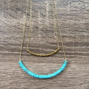 Simple Sanctuary Jewelry - Layered Gold and Turquoise Necklace
