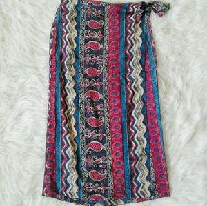 Vintage Wrap Maxi Skirt