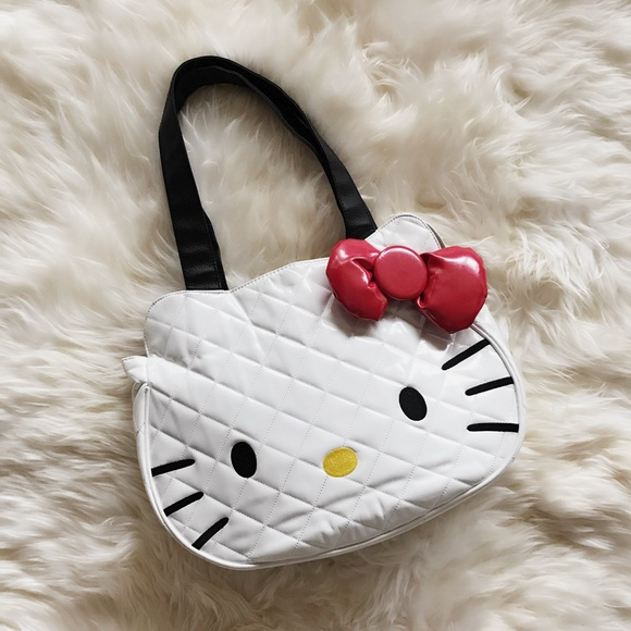 12abbbbf81 Hello Kitty Handbags - Hello Kitty White Quilted Face Tote Bag