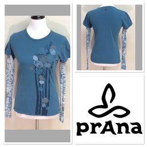 Prana Tops - M PRANA leaf print blue long sleeve tee
