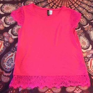 Divided Tops - Divided hot pink lace top