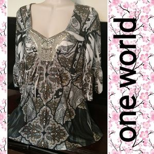 ONE WORLD Tops - One world sz lg top
