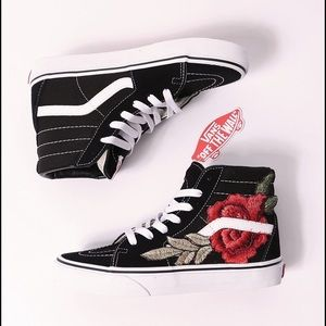 white high top vans with roses