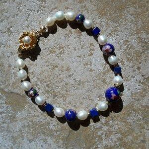 Handmade  Jewelry - Handmade Pearl and Cloisonn? Bead Bracelet, 8 inch
