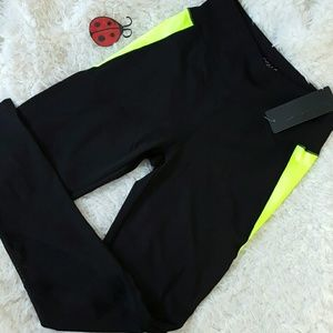 Pants - Black neon yellow MESH YOGA workout leggings