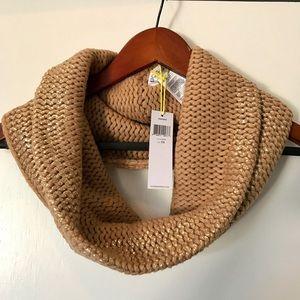 BCBG Metallic rubbed knit cowl NWT
