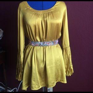 Spiegel Tops - SALE Silk Spiegel Blouse Gold/Yellow Plus Size