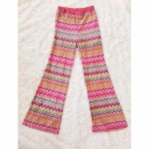 Pants - Wide Leg Pants With Zig-Zag Pattern