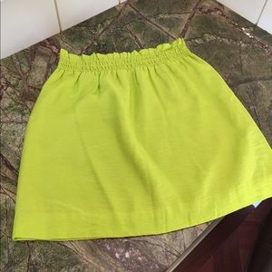 Adorable neon lime J.Crew mini skirt