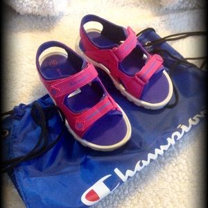 Champion sandals with Free bag.