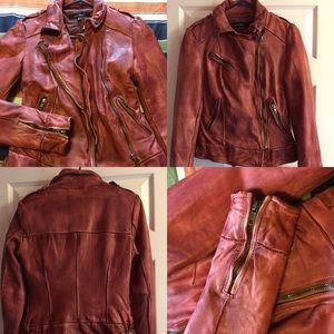 Muubaa Jackets & Blazers - NEW MUUBAA LEATHER BIKER JACKET (RED)