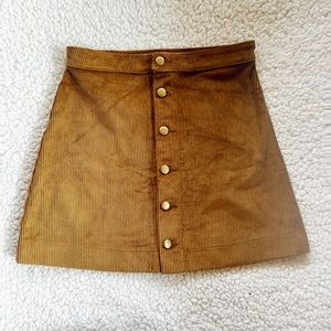 Corduroy Button Front A-Line skirt