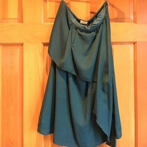 Dark teal strapless dress