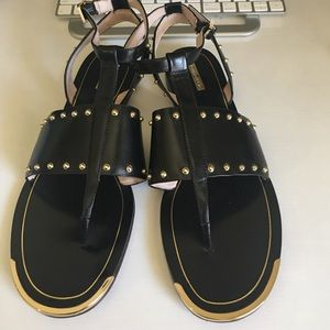 Louise et Cie Black Sandals with Gold Embellishing