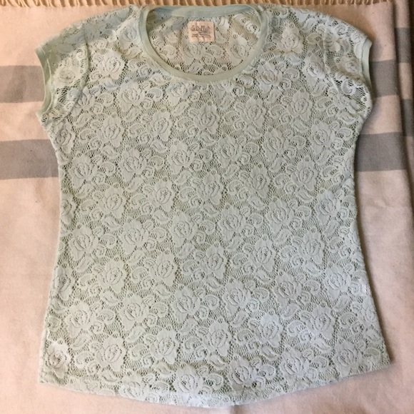 Zara Tops - ZARA MINT GREEN LACE TEE