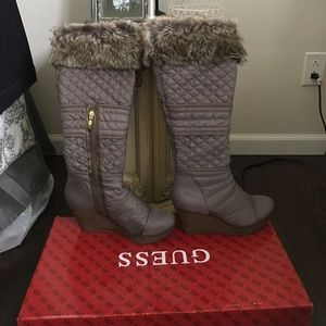 Guess Shoes - Guess quilted faux fur wedge boots