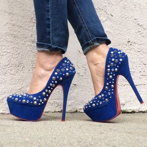 Alba Shoes - Faux Suede Spiked & Studded Blue Heels