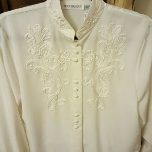Martinique  Tops - Feminine ivory button down blouse