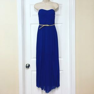 Charlotte Russe Dresses & Skirts - Royal blue pleated maxi dress w/ gold belt