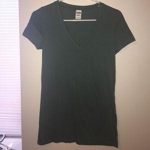 PINK Victoria's Secret Tops - PINK V neck teal shirt