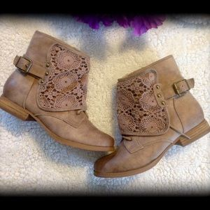 Not Rated Shoes - Adorable Lace panel front boots.