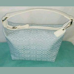 Coach Handbags - Coach Mini Bucket Light Blue Canvas White Leather