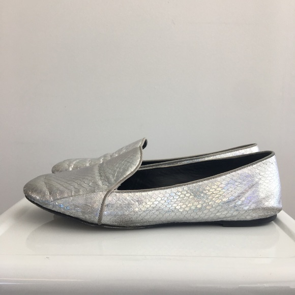 B Brian Atwood Shoes - Holographic Silver Snakeprint 'Claudelle' Loafers