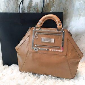 "Rare Versace Laminated Tan Leather ""Hit"" Bag $2300"