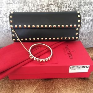 Valentino Handbags - Valentino Rockstud Black Leather Bangle Clutch