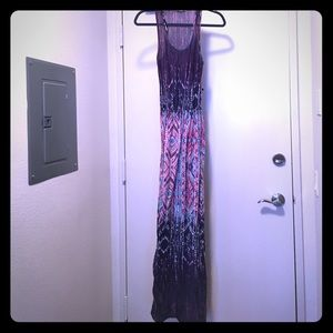 Pink purple blue ombre spring maxi dress