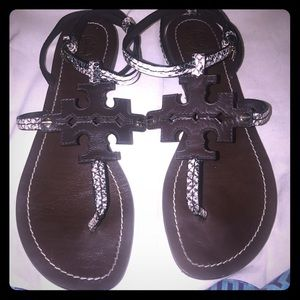 Tory Burch Shoes - Tory Burch Sandals 8m Brown and snake