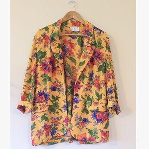 Vintage floral blazer oversized retro purple lapel