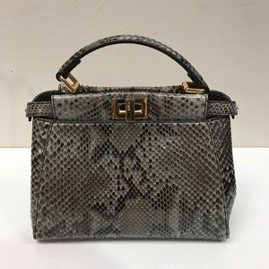 Fendi Handbags - Fendi Mini Python Peekaboo Crossbody Bag