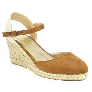 SHOEROOM21 boutique Shoes - Ladies ankle strap backless wedge shoes. Tan. NIB