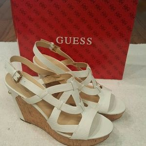Guess Shoes - Guess White Tabatha wedge sandal