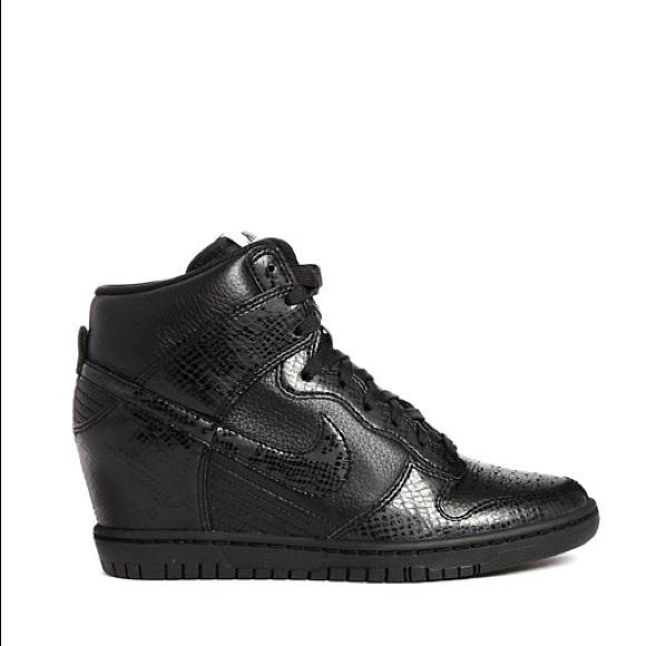 Nike Dunk Sky Hi Black Snake Effect Wedge Trainers.  M 58b733a82fd0b76e7b145663 50c34a3c9e53