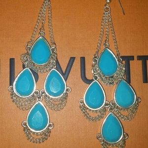 Jewelry - Blue Chain Chandelier Earrings