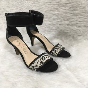 Sole Society Ankle Strap Heels Animal Print Sz 6.5