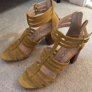 Sole Society yellow suede gladiator sandals
