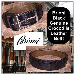 Brioni Other - Brioni Black Crocodile & Matte Silver Leather Belt