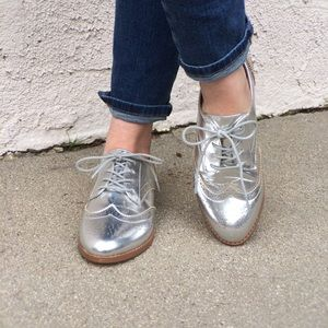 Forever 21 Shoes - Faux Leather Silver Oxford Shoes
