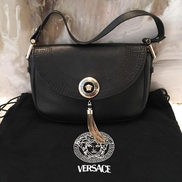 Gianni Versace Vanitas Tassel Black Leather Bag. M 58b7398a68027810190158dc 791e9812f3