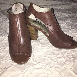 Cute peep toe heeled booties