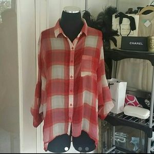 Poetry Tops - POETRY PLAID BLOUSE SZ L