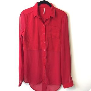 Free People Tops - Free People Red Button Down Sheer Blouse
