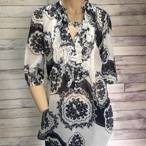 New York & Company Tops - Blue / white floral tunic or bathing suit cover-up