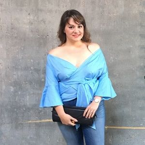 Powder Blue Wrap Blouse