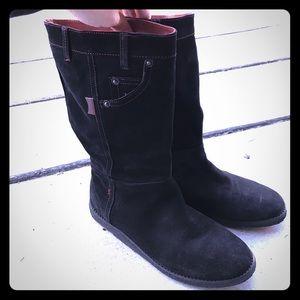 "Camper Shoes - Camper ""Twins"" Black Suede Boots"